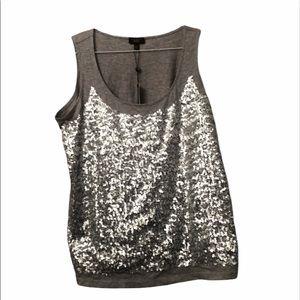 Women's Sequins gray tank top - Talbots Size XL